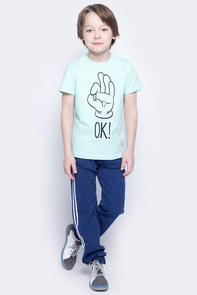 Футболка для мальчика PlayToday, цвет: голубой, черный. 171162. Размер 98171162Футболка для мальчика PlayToday выполнена из эластичного хлопка. Модель с круглым вырезом горловины и короткими рукавами оформлена оригинальным принтом.