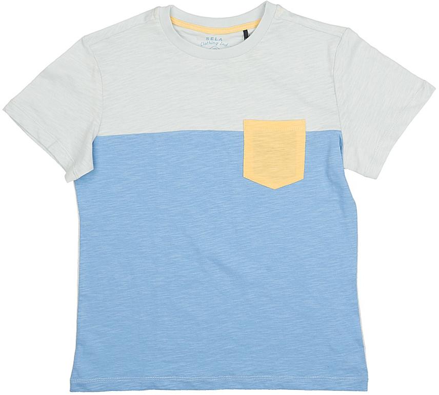 Футболка для мальчика Sela, цвет: голубой. Ts-811/586-7215. Размер 128, 8 летTs-811/586-7215Стильная футболка для мальчика Sela изготовлена из натурального хлопка. Полочка футболки выполнена из материала двух цветов и дополнена контрастным накладным кармашком, спинка однотонная. Воротник дополнен мягкой трикотажной резинкой. Яркий цвет модели позволяет создавать модные образы.