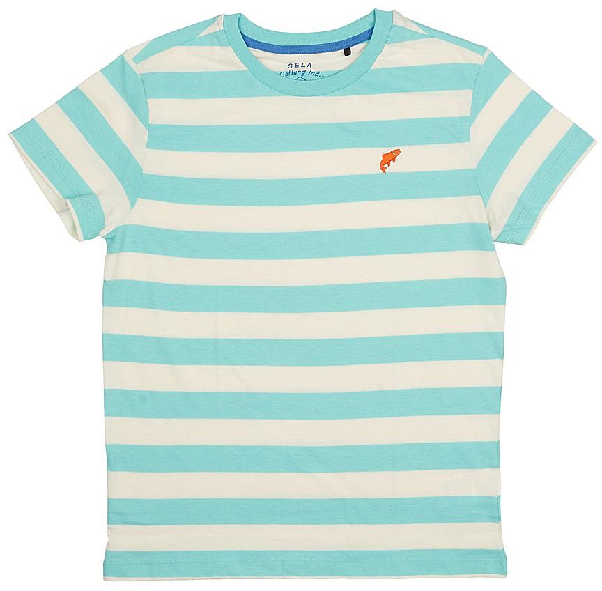 Футболка для мальчика Sela, цвет: голубой. Ts-811/1075-7213. Размер 134, 9 летTs-811/1075-7213Стильная футболка для мальчика Sela изготовлена из натурального хлопка и оформлена принтом в полоску. Воротник дополнен мягкой трикотажной резинкой.Яркий цвет модели позволяет создавать модные образы.