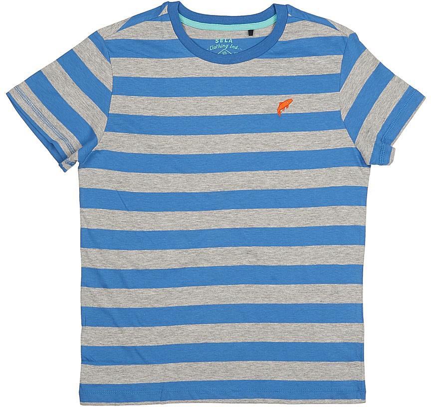 Футболка для мальчика Sela, цвет: индиго. Ts-811/1075-7213. Размер 128, 8 летTs-811/1075-7213Стильная футболка для мальчика Sela изготовлена из натурального хлопка и оформлена принтом в полоску. Воротник дополнен мягкой трикотажной резинкой.Яркий цвет модели позволяет создавать модные образы.