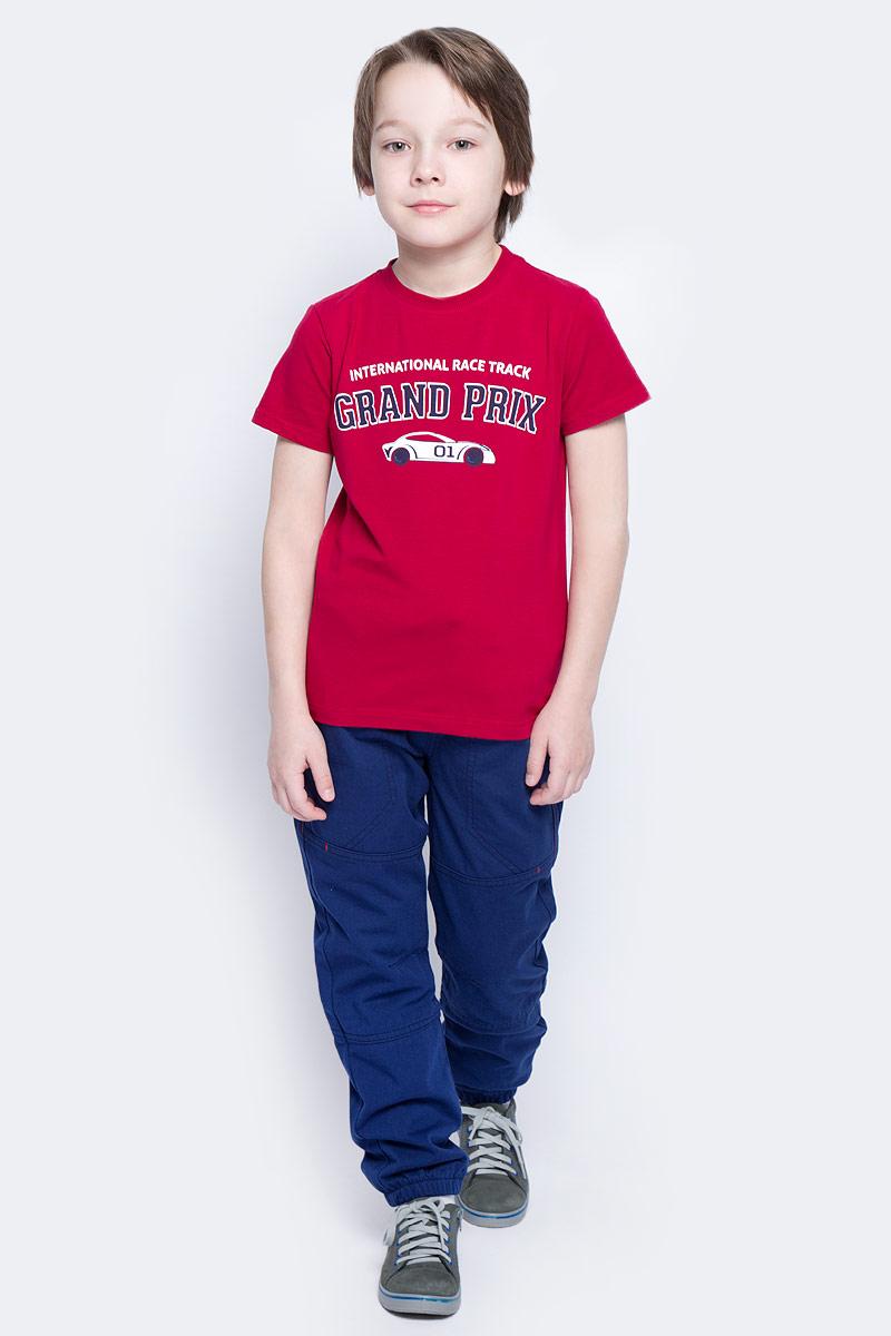 Футболка для мальчика PlayToday, цвет: красный, белый, темно-серый. 171024. Размер 122171024Футболка для мальчика PlayToday выполнена из эластичного хлопка. Модель с круглым вырезом горловины и короткими рукавами оформлена оригинальным принтом.