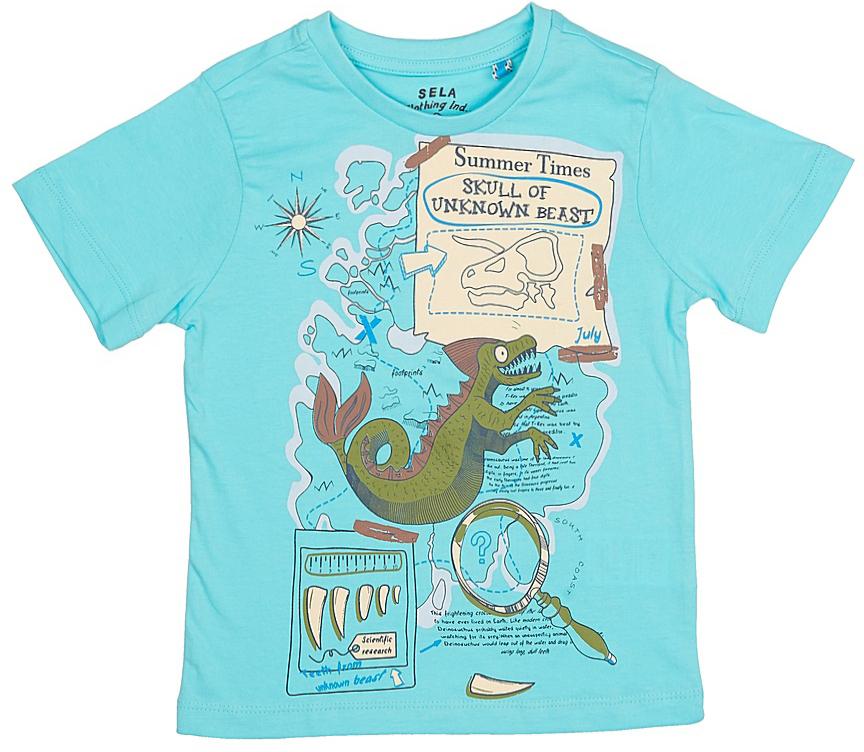 Футболка для мальчика Sela, цвет: светлый аквамарин. Ts-711/188-7213. Размер 110, 5 летTs-711/188-7213Стильная футболка для мальчика Sela изготовлена из натурального хлопка и оформлена оригинальным принтом. Воротник дополнен мягкой трикотажной резинкой.Яркий цвет модели позволяет создавать модные образы.