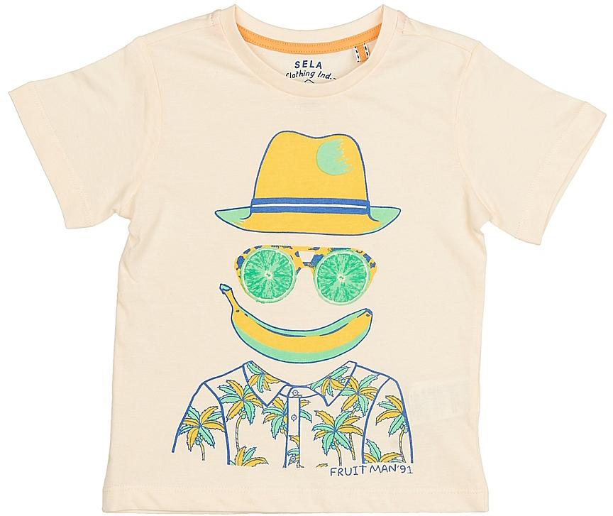 Футболка для мальчика Sela, цвет: серовато-янтарный. Ts-711/185-7214. Размер 98, 3 годаTs-711/185-7214Стильная футболка для мальчика Sela изготовлена из натурального хлопка и оформлена оригинальным принтом. Воротник дополнен мягкой трикотажной резинкой.Яркий цвет модели позволяет создавать модные образы.