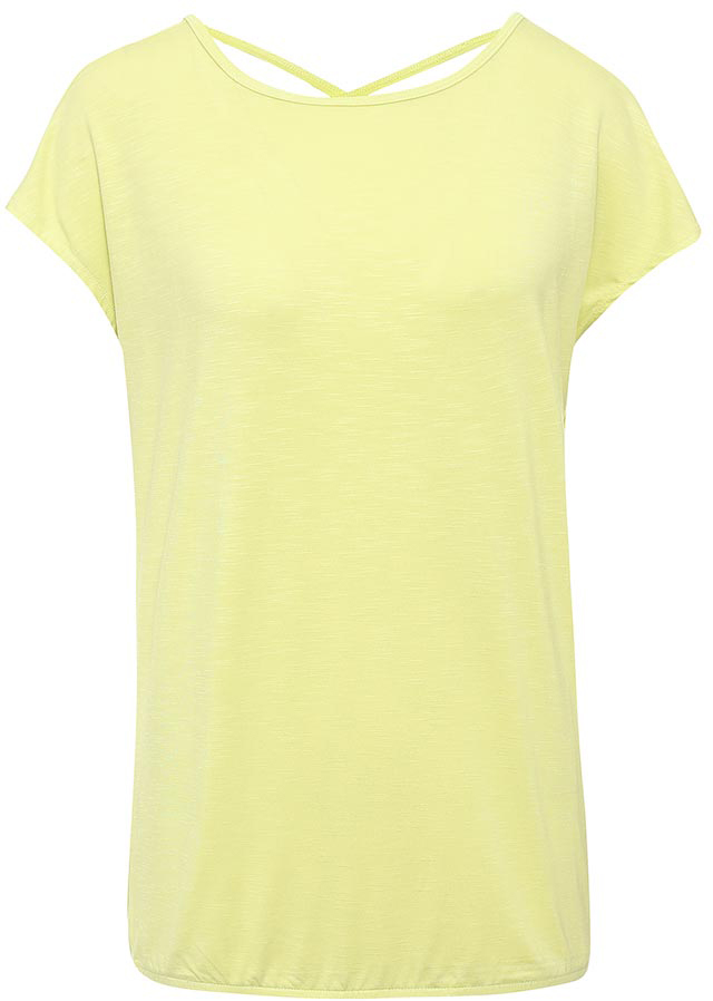 Футболка женская Sela, цвет: неоновый желтый. Ts-111/1241-7234. Размер XXL (52)Ts-111/1241-7234Стильная женская футболка Sela станет отличным дополнением к гардеробу каждой модницы. Модель свободного кроя с вырезом-лодочкой и короткими цельнокроеными рукавами изготовлена из качественного трикотажа и собрана на резинку снизу. Спинка с глубоким вырезом дополнена двумя перекрещивающимися текстильными полосками. Воротник дополнен мягкой эластичной бейкой.Универсальный цвет позволяет сочетать модель с любой одеждой.