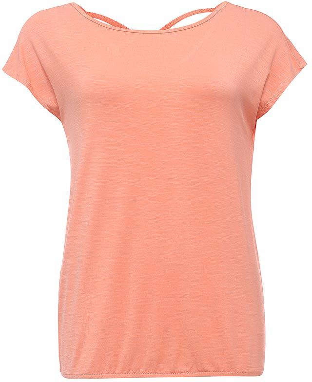 Футболка женская Sela, цвет: бледно-оранжевый. Ts-111/1241-7234. Размер XS (42)Ts-111/1241-7234Стильная женская футболка Sela станет отличным дополнением к гардеробу каждой модницы. Модель свободного кроя с вырезом-лодочкой и короткими цельнокроеными рукавами изготовлена из качественного трикотажа и собрана на резинку снизу. Спинка с глубоким вырезом дополнена двумя перекрещивающимися текстильными полосками. Воротник дополнен мягкой эластичной бейкой.Универсальный цвет позволяет сочетать модель с любой одеждой.