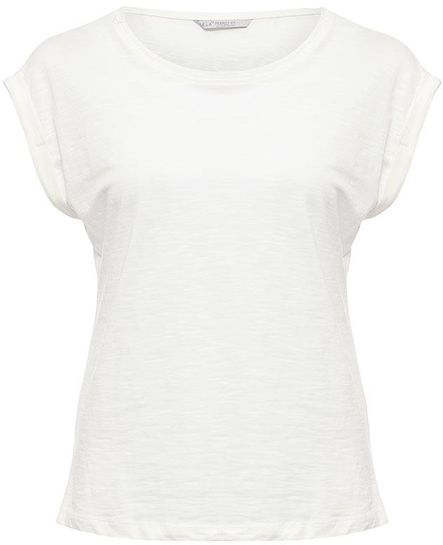 Футболка женская Sela, цвет: молочный. Ts-111/1220-7273. Размер XL (50)Ts-111/1220-7273Стильная женская футболка Sela станет отличным дополнением к гардеробу каждой модницы. Модель полуприлегающего силуэта изготовлена из натурального хлопка и имеет короткие цельнокроеные рукава с опцией подгибки. Воротник дополнен мягкой эластичной бейкой.Универсальный цвет позволяет сочетать модель с любой одеждой.