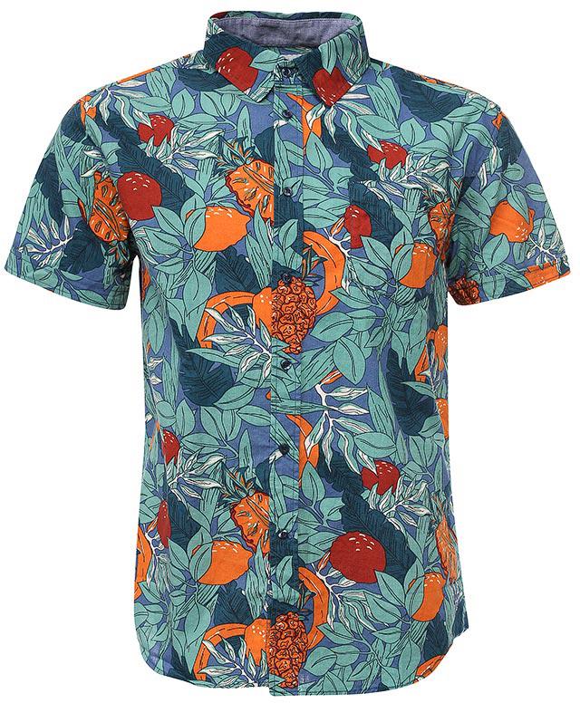 Рубашка мужская Sela, цвет: деним. Hs-212/757-7224. Размер 42 (48)Hs-212/757-7224Стильная мужская рубашка Sela выполнена из натурального хлопка и оформлена ярким принтом. Модель прямого кроя с короткими рукавами и отложным воротничком застегивается на пуговицы и дополнена накладным карманом на груди.Яркий цвет модели позволяет создавать стильные летние образы.