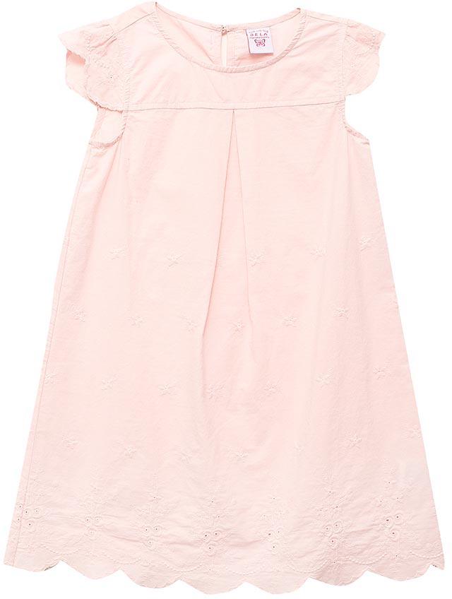 Платье для девочки Sela, цвет: розовый. Dsl-517/381-7234. Размер 104, 4 годаDsl-517/381-7234Нарядное платье для девочки Sela выполнено из натурального хлопка. Модель А-силуэта с круглым вырезом горловины застегивается сзади на пуговицу. Фигурный низ изделия и рукава-крылышки оформлены вышивкой в тон. Мягкая ткань комфортна и приятна на ощупь. Платье мини-длины подойдет для прогулок и дружеских встреч и станет отличным дополнением гардероба в летний период.