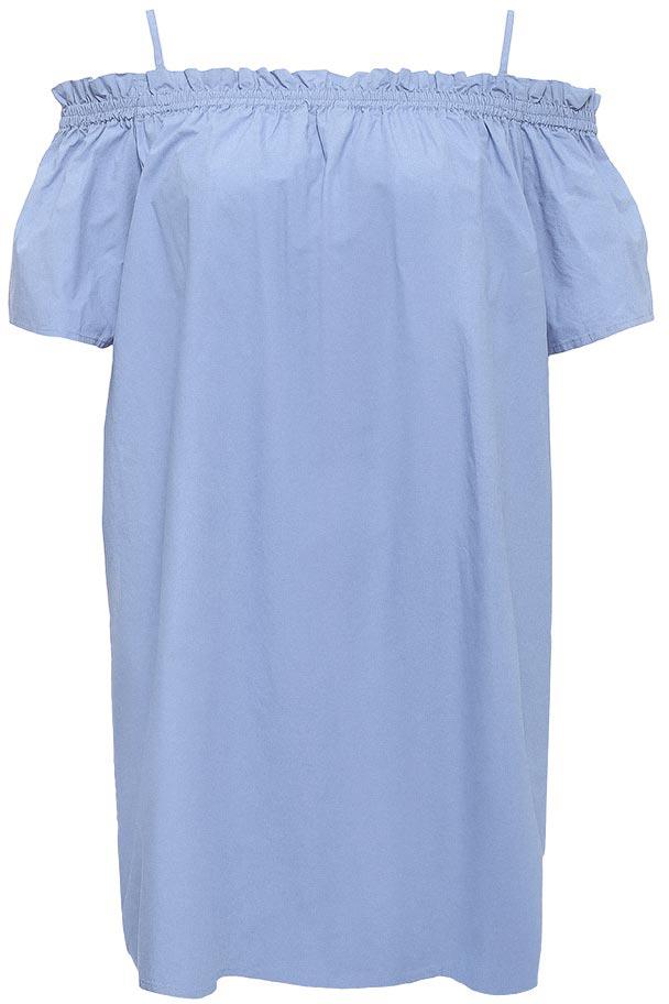 Платье Sela, цвет: голубой. Ds-317/1155-7213. Размер 44Ds-317/1155-7213Оригинальное женское платье Sela выполнено изнатурального хлопка. Модель свободного кроя с короткими цельнокроеными рукавами и открытыми плечами подойдет для прогулок и дружеских встреч и станет отличным дополнением гардероба в летний период. Верх изделия дополнен вшитой резинкой и завязками.