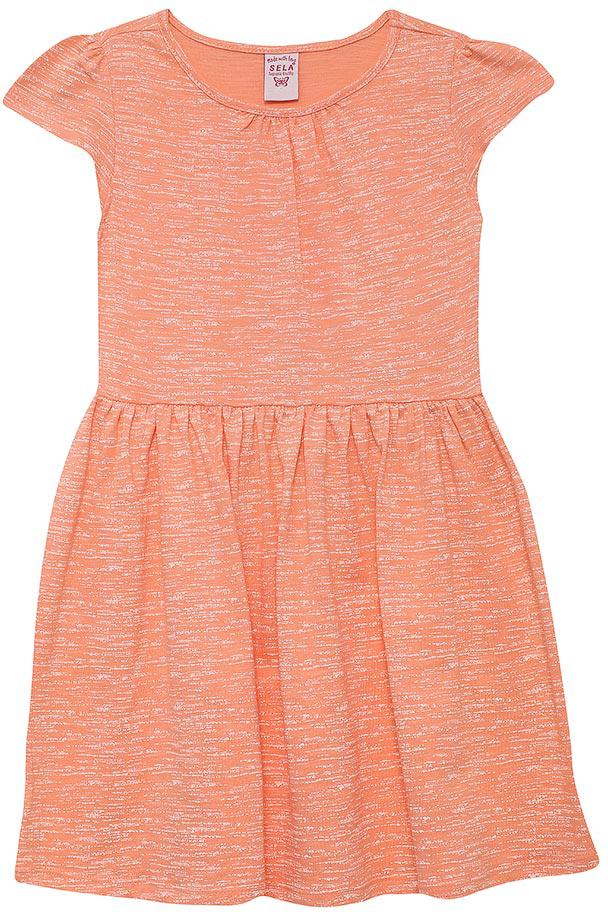 Платье для девочки Sela, цвет: бледно-оранжевый. Dks-517/166-7253. Размер 110, 5 летDks-517/166-7253Лаконичное платье для девочки Sela выполнено из натурального хлопка. Модель приталенного кроя с расклешенной юбкой и короткими рукавами-крылышками подойдет для прогулок и дружеских встреч и станет отличным дополнением гардероба маленькой модницы. Мягкая ткань комфортна и приятна на ощупь.