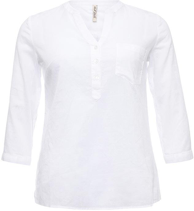 Блузка женская Sela, цвет: белый. Bs-112/324-7263. Размер 44Bs-112/324-7263Стильная женская блузка Sela выполнена из тонкого хлопкового материала. Модель прямого кроя с V-образным вырезом горловины застегивается на пуговицы до середины груди и дополнена накладным карманом. Манжеты рукавов длиной 3/4 также застегиваются на пуговицы. Блузка подойдет для офиса, прогулок и дружеских встреч и будет отлично сочетаться с джинсами и брюками, и гармонично смотреться с юбками. Мягкая ткань комфортна и приятна на ощупь.