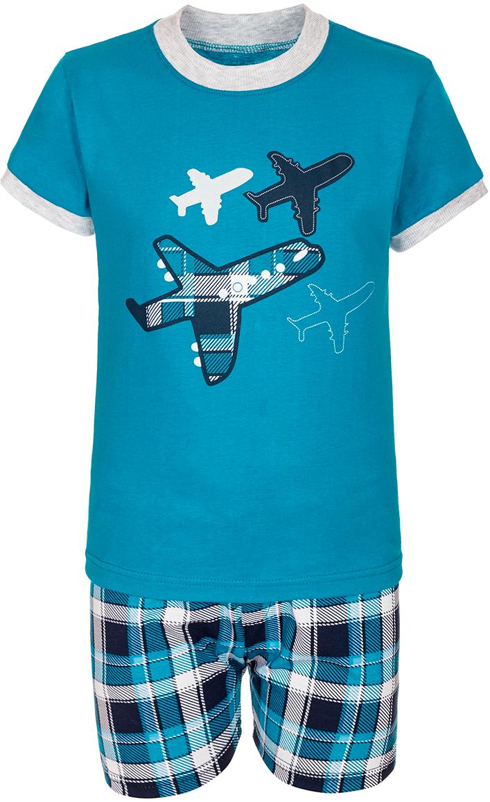 Комплект для мальчика M&D: футболка, шорты, цвет: бирюза, мультиколор. М12028. Размер 110М12028Комплект для мальчика M&D выполнен из натурального хлопка. В комплект входит футболка и шорты. Футболка с круглым вырезом горловины украшена принтом. Шорты дополнены эластичной резинкой на талии.