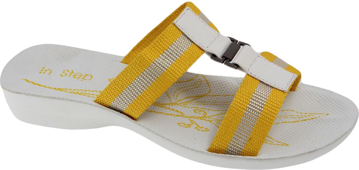 Шлепанцы женские In Step, цвет: желтый. W132-41D. Размер 41W132-41DЖенские шлепанцы от In Step лаконичного дизайна выполнены из искусственной кожи. Подошва выполнена из полимерного материала.