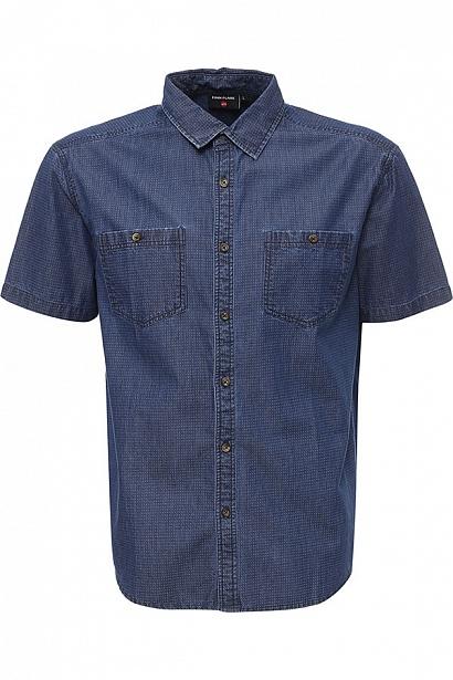 Рубашка мужская Finn Flare, цвет: ярко-синий. S17-42025_111. Размер L (50)S17-42025_111Рубашка мужская Finn Flare выполнена из натурального хлопка. Модель с отложным воротником и кроткими рукавами застегивается на пуговицы.