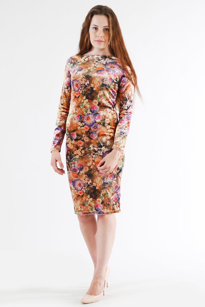 Платье Be in, цвет: коричневый, мультиколор. Пл 1-116. Размер 40Пл 1-116Стильное платье Be in изготовлено из качественной смесовой ткани. Модель длины миди оформлено оригинальным цветочным принтом. Платье Be in - для девушки, стремящейся всегда оставаться стильной и элегантной.