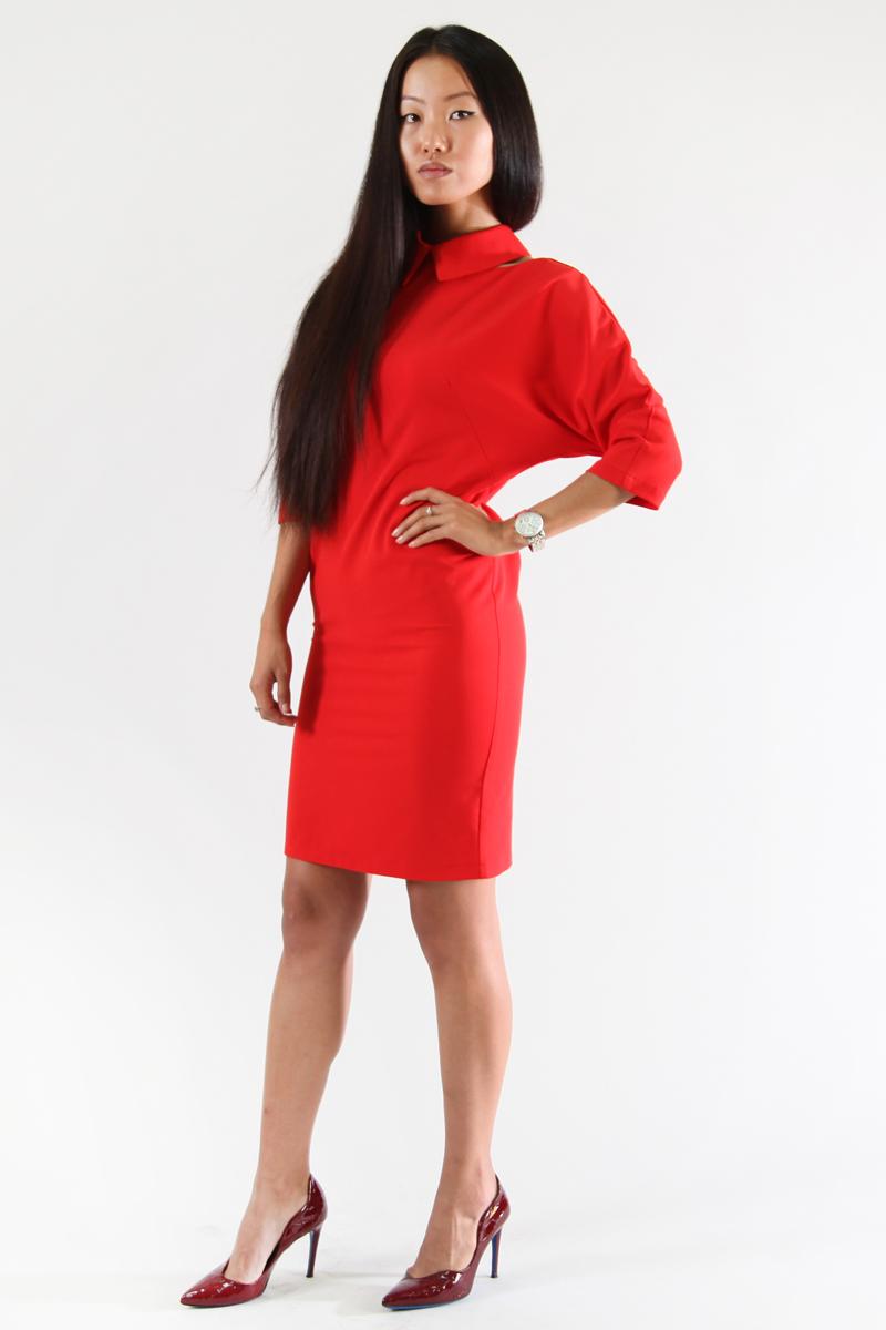 Платье Be in, цвет: красный. Пл 18-15. Размер S (42/44)Пл 18-15Стильное платье Be in изготовлено из качественной смесовой ткани. Модель длины миди оформлено рукавами 3/4 и оригинальным отложным воротничком. Платье Be in - для девушки, стремящейся всегда оставаться стильной и элегантной.