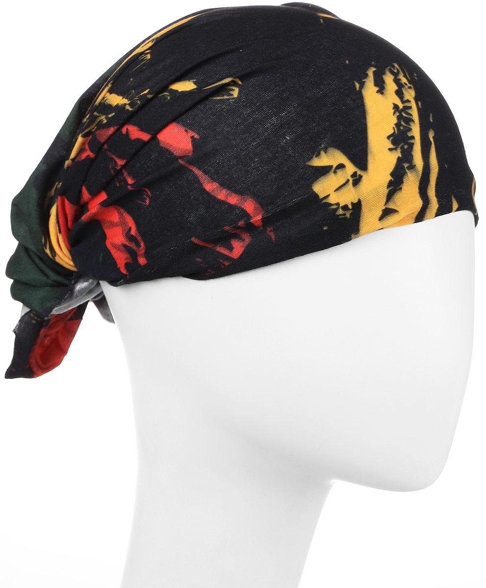 Повязка на голову Maxval, цвет: черный, красный, желтый. PoY100231. Размер универсальныйPoY100231Повязка на голову из хлопка с эластаном Maxval выполнена в яркой цветовой гамме. Размер универсальный. Возможны различные варианты носки.