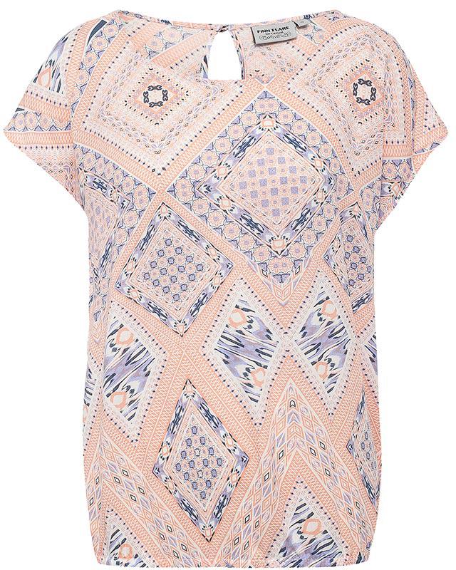 Блузка женская Finn Flare, цвет: розовый. S17-12060_306. Размер XL (50)S17-12060_306Блузка женская Finn Flare выполнена из 100% вискозы. Модель с круглым вырезом горловины и короткими рукавами застегивается сзади на пуговицу.