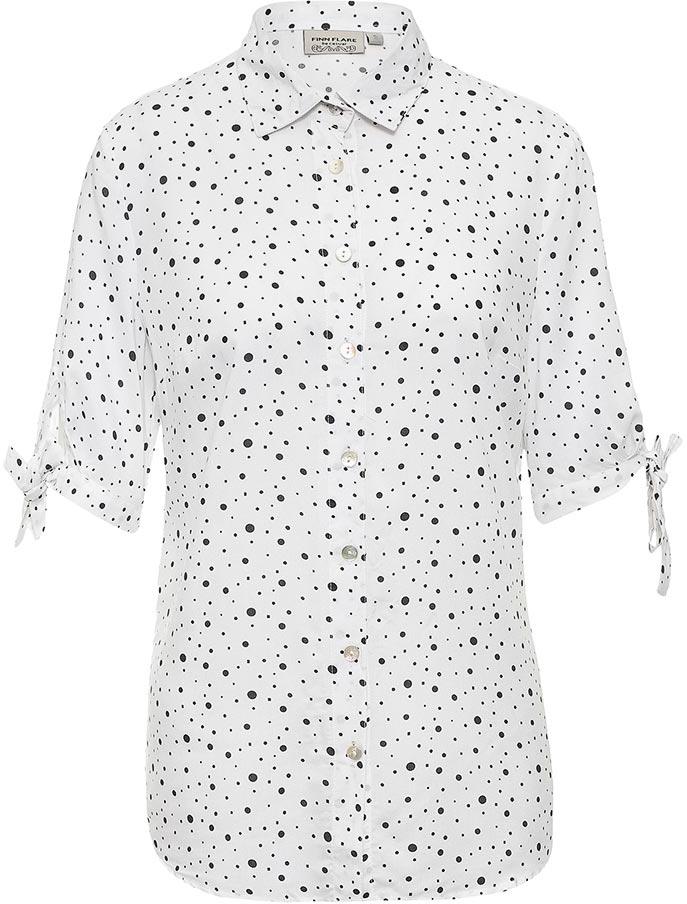 Блузка женская Finn Flare, цвет: белый. S17-11037_201. Размер L (48)S17-11037_201Блузка женская Finn Flare выполнена из 100% вискозы. Модель с отложным воротником и короткими рукавами застегивается на пуговицы.