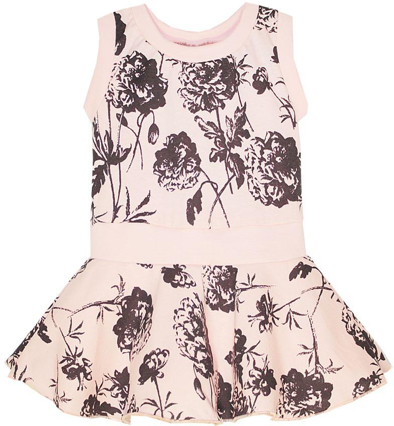 Платье для девочки КотМарКот, цвет: розовый. 21609. Размер 12221609Платье для девочки КотМарКот выполнено из натурального хлопка и оформлено принтом с розами. Модель с круглым вырезом горловины и юбкой-полусолнце.