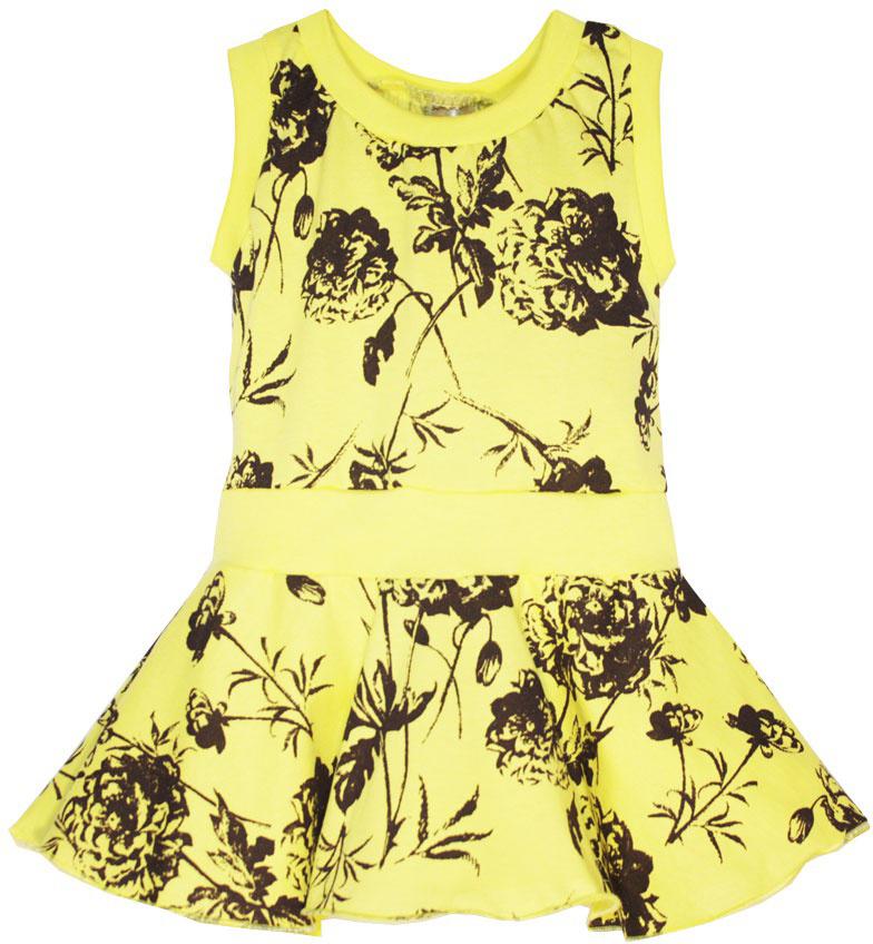 Платье для девочки КотМарКот, цвет: желтый. 21608. Размер 12221608Платье для девочки КотМарКот выполнено из натурального хлопка и оформлено принтом с розами. Модель с круглым вырезом горловины и юбкой-полусолнце.