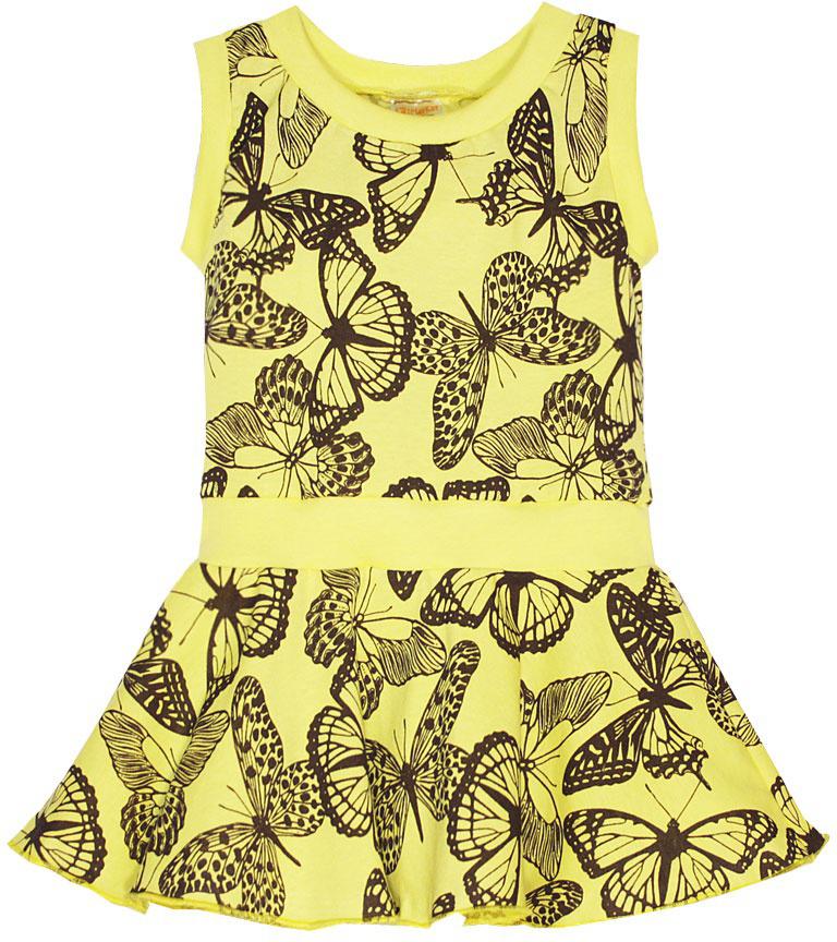 Платье для девочки КотМарКот, цвет: желтый. 21602. Размер 10421602Платье для девочки КотМарКот выполнено из натурального хлопка и оформлено принтом с бабочками. Модель с круглым вырезом горловины и юбкой-полусолнце.