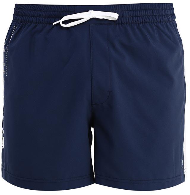 Шорты для плавания мужские Reebok Bw Volley Short, цвет: темно-синий. BK4819. Размер S (44/46)BK4819Мужские шорты Reebok Bw Volley Short классического дизайна выполнены из высококачественного материала. Эти стильные шорты идеально подойдут любителям пляжного волейбола. Пояс на шнурке подчеркнет ваш спортивный настрой, а графические вставки по бокам сделают образ еще более интересным.Накладной карман для мелочей.Стильные графические элементы в дизайне.