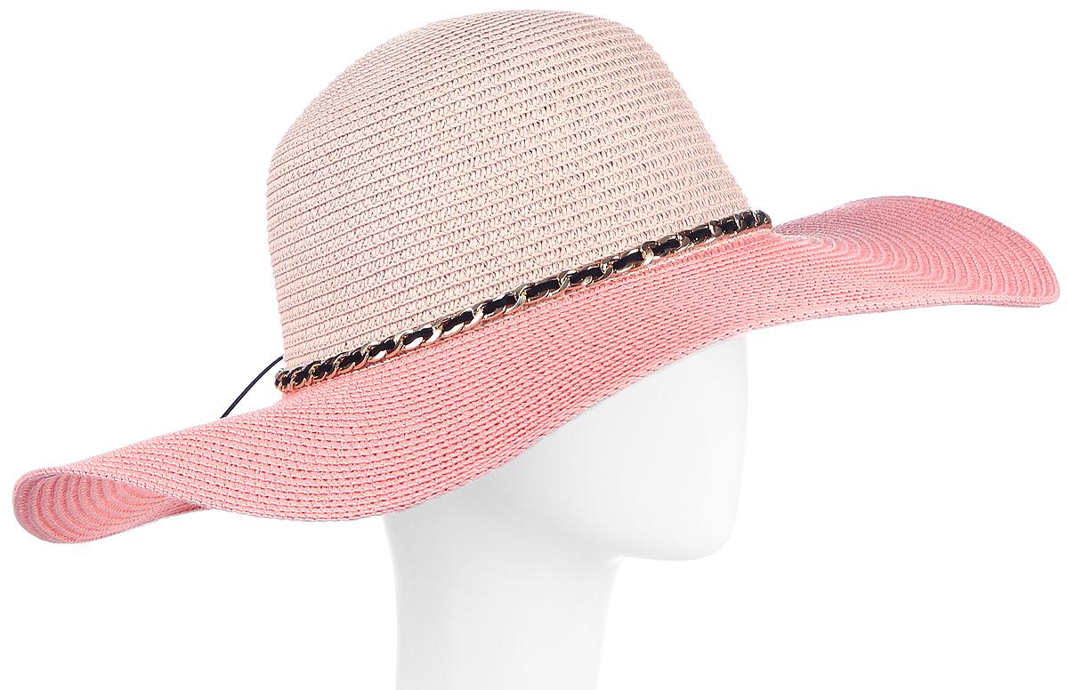 Шляпа женская Maxval, цвет: розовый. HtW100288. Размер 58HtW100288Модная шляпа Maxval выполнена из качественной бумажной соломки. Шляпа с широкими полями дополнена декоративным шнурком и цепочкой. Эта модель станет отличным аксессуаром и дополнит ваш повседневный образ.