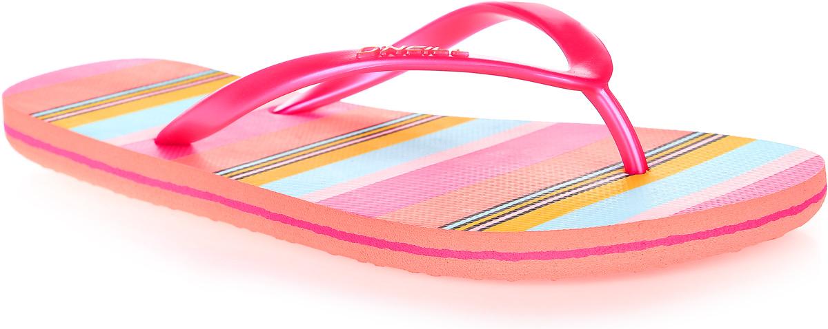 Сланцы женские ONeill Fw Print Flip Flop, цвет: розовый. 7A8622-4900. Размер 40 (39)7A8622-4900Сланцы от ONeill незаменимы для пляжного сезона. Модель выполнена из качественного полимерного материала. Перемычка между пальцами отвечает за надежную фиксацию модели на ноге. Удобная подошва выполнена в ярких цветах. Эффектные сланцы помогут вам создать яркий, запоминающийся образ.