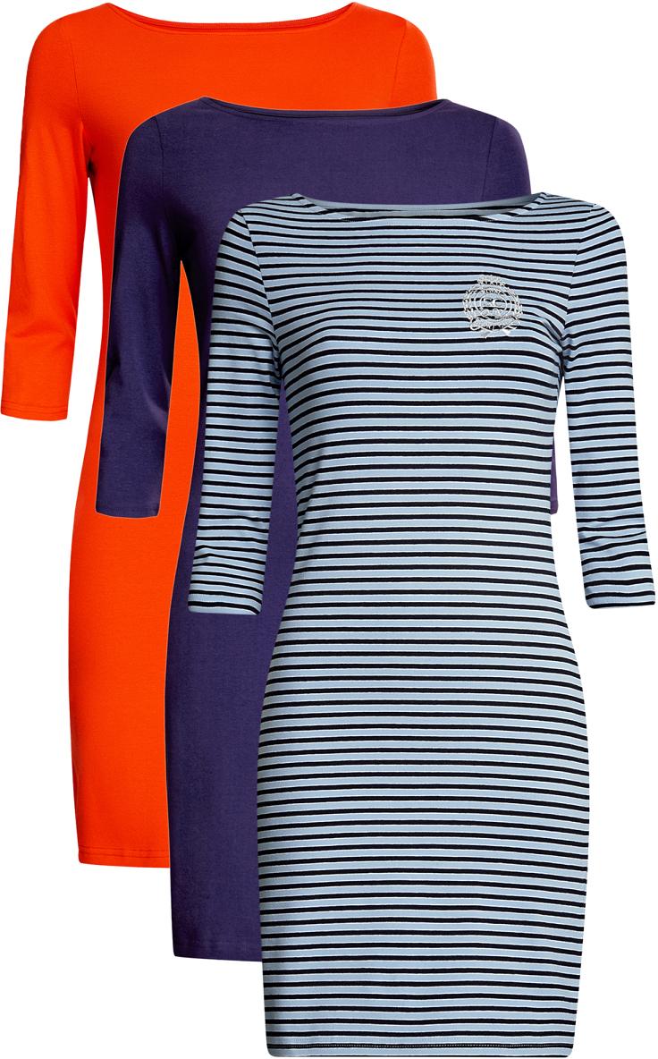Платье oodji Ultra, цвет: красный, фиолетовый, голубой, 3 шт. 14001071T3/46148/19BVN. Размер L (48)14001071T3/46148/19BVNКомплект из трех мини-платьев oodji Ultra изготовлен из хлопка с добавлением эластана. Обтягивающие платья с вырезом лодочкой и рукавами 3/4 выполнены в лаконичном дизайне. Все платья комплекта представлены в разных цветах.