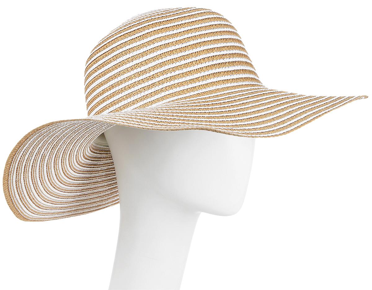 Шляпа женская Maxval, цвет: бежевый. HtW100279. Размер 57HtW100279Модная шляпа Maxval выполнена из качественной бумажной соломки. Шляпа с широкими полями дополнена сзади бантом в тон шляпке. Эта модель станет отличным аксессуаром и дополнит ваш повседневный образ.