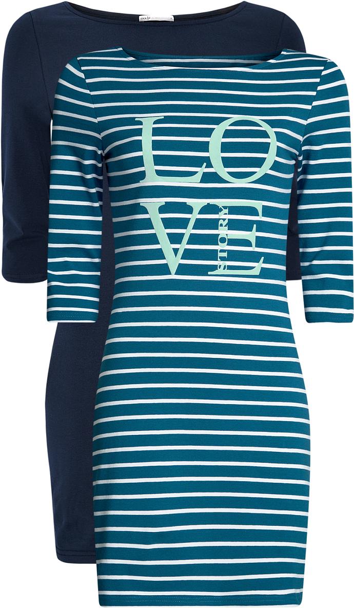 Платье oodji Ultra, цвет: темно-синий, голубой, 2 шт. 14001071T2/46148/7974N. Размер XL (50)14001071T2/46148/7974NКомплект из двух мини-платьев oodji Ultra изготовлен из хлопка с добавлением эластана. Обтягивающие платья с круглым вырезом и рукавами 3/4 выполнены в лаконичном дизайне. В комплекте два платья представлены в разных цветах.
