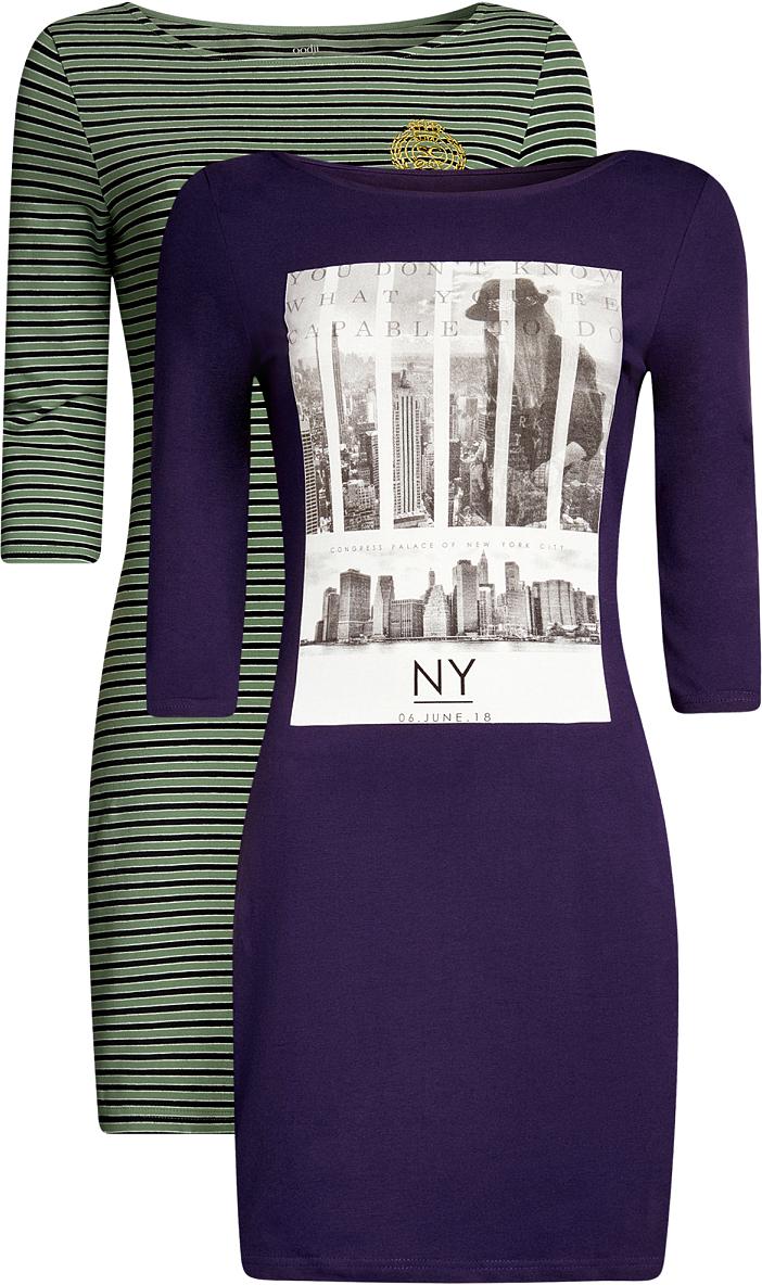 Платье oodji Ultra, цвет: темно-фиолетовый, хаки, 2 шт. 14001071T2/46148/8867S. Размер XS (42)14001071T2/46148/8867SКомплект из двух мини-платьев oodji Ultra изготовлен из хлопка с добавлением эластана. Обтягивающие платья с круглым вырезом и рукавами 3/4 выполнены в лаконичном дизайне. В комплекте два платья.