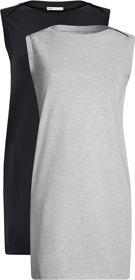 Платье oodji Ultra, цвет: черный, серый, 2 шт. 14005074T2/46149/2923N. Размер L (48)14005074T2/46149/2923NТрикотажное летнее платье выполнено из эластичного хлопка. Модель приталенного кроя и без рукавов. В комплекте 2 платья.