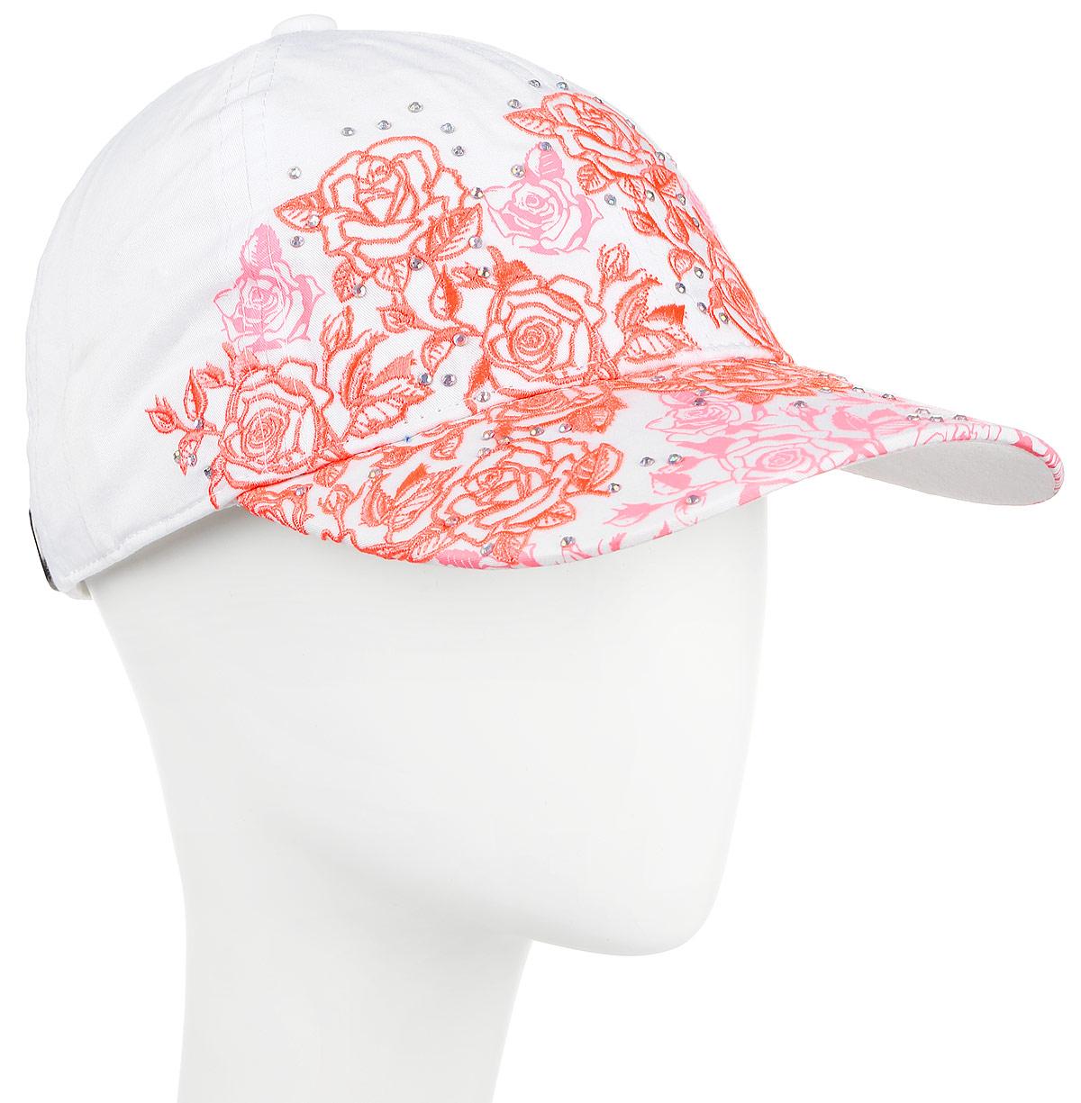 Бейсболка женская Maxval, цвет: белый, розовый. BW151014. Размер 56/58BW151014Бейсболка классической формы в сочетании с яркой неоновой тканью, легкой цветочной вышивкой и принтом, будто кружево ложится на форму. Дополняют композицию изысканно поблескивающие стразы. Стиль бейсболки подчеркнуто романтичен и будет прекрасным дополнением летнему образу любой женщины.