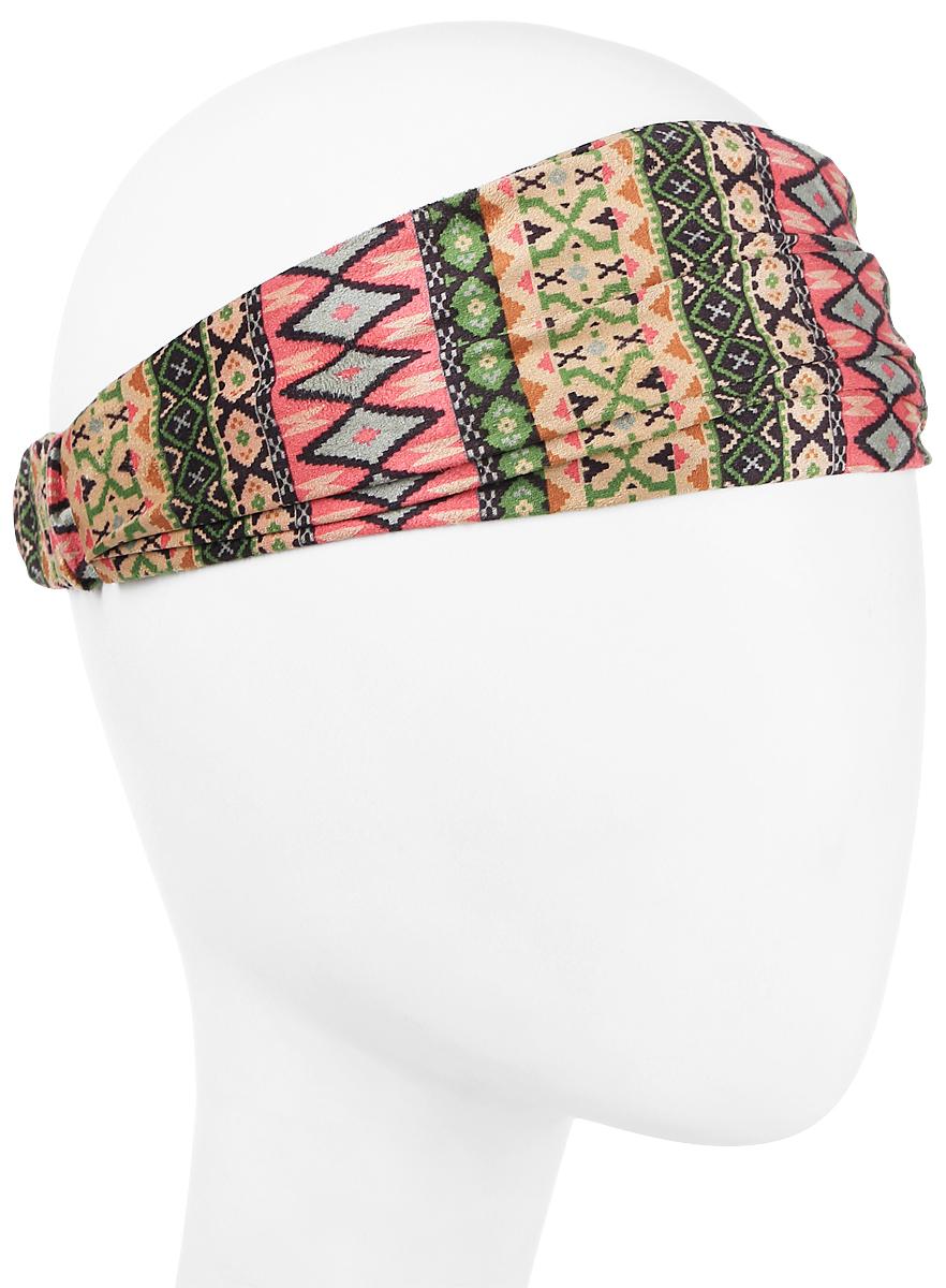 Повязка на голову женская Maxval, цвет: зеленый, бежевый, розовый. PoW141030. Размер универсальныйPoW141030Повязка на голову Maxval выполнена из смесовой ткани в яркой цветовой гамме. Размер универсальный. Возможны различные варианты носки.