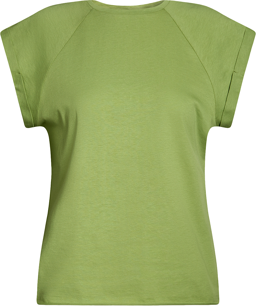 Футболка женская oodji Ultra, цвет: зеленый. 14707001B/46154/6200N. Размер M (46)14707001B/46154/6200NБазовая футболка свободного кроя с круглым вырезом горловины и короткими рукавами-реглан выполнена из натурального хлопка.
