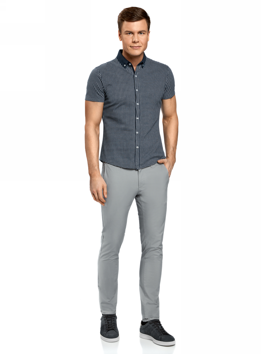 Рубашка мужская oodji Lab, цвет: темно-синий, белый. 5L412253M/46748N/7910G. Размер L (52/54)5L412253M/46748N/7910GМужская принтованная рубашка от oodji выполнена из натурального хлопка. Модель с короткими рукавами застегивается на пуговицы.