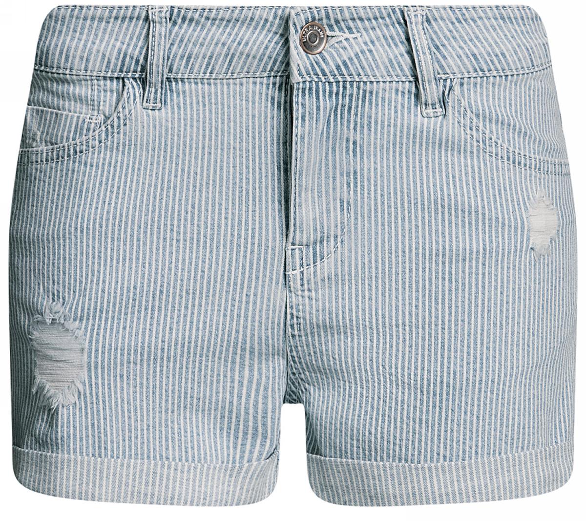 Шорты женские oodji Ultra, цвет: синий джинс. 12807081/46655/7500W. Размер 28 (46)12807081/46655/7500WШорты джинсовые с отворотами oodji выполнены из высококачественного материала на основе хлопка. Шорты застегиваются на пуговицу в поясе и ширинку на застежке-молнии, дополнены шлевками для ремня. Спереди модель дополнена двумя втачными карманами, одним маленьким накладным, а сзади - двумя накладными карманами.