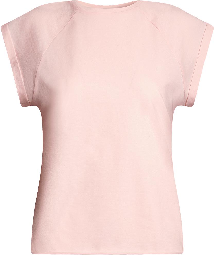 Футболка женская oodji Ultra, цвет: светло-розовый. 14707001B/46154/4000N. Размер M (46)14707001B/46154/4000NБазовая футболка свободного кроя с круглым вырезом горловины и короткими рукавами-реглан выполнена из натурального хлопка.