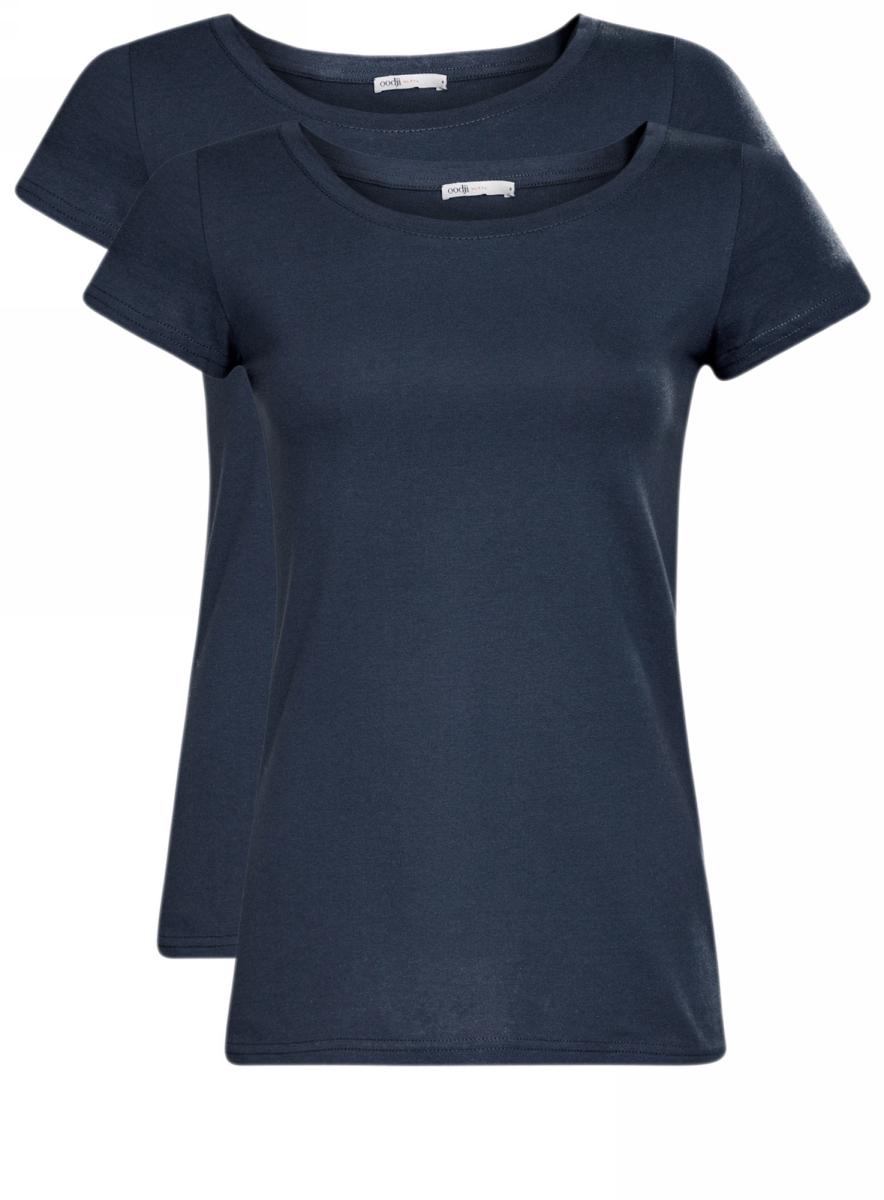 Футболка женская oodji Ultra, цвет: темно-синий, 2 шт. 14701008T2/46154/7900N. Размер S (44)14701008T2/46154/7900NЖенская приталенная футболка выполнена из хлопка. Модель с круглым вырезом горловины и стандартными короткими рукавами. В комплект входят 2 футболки.
