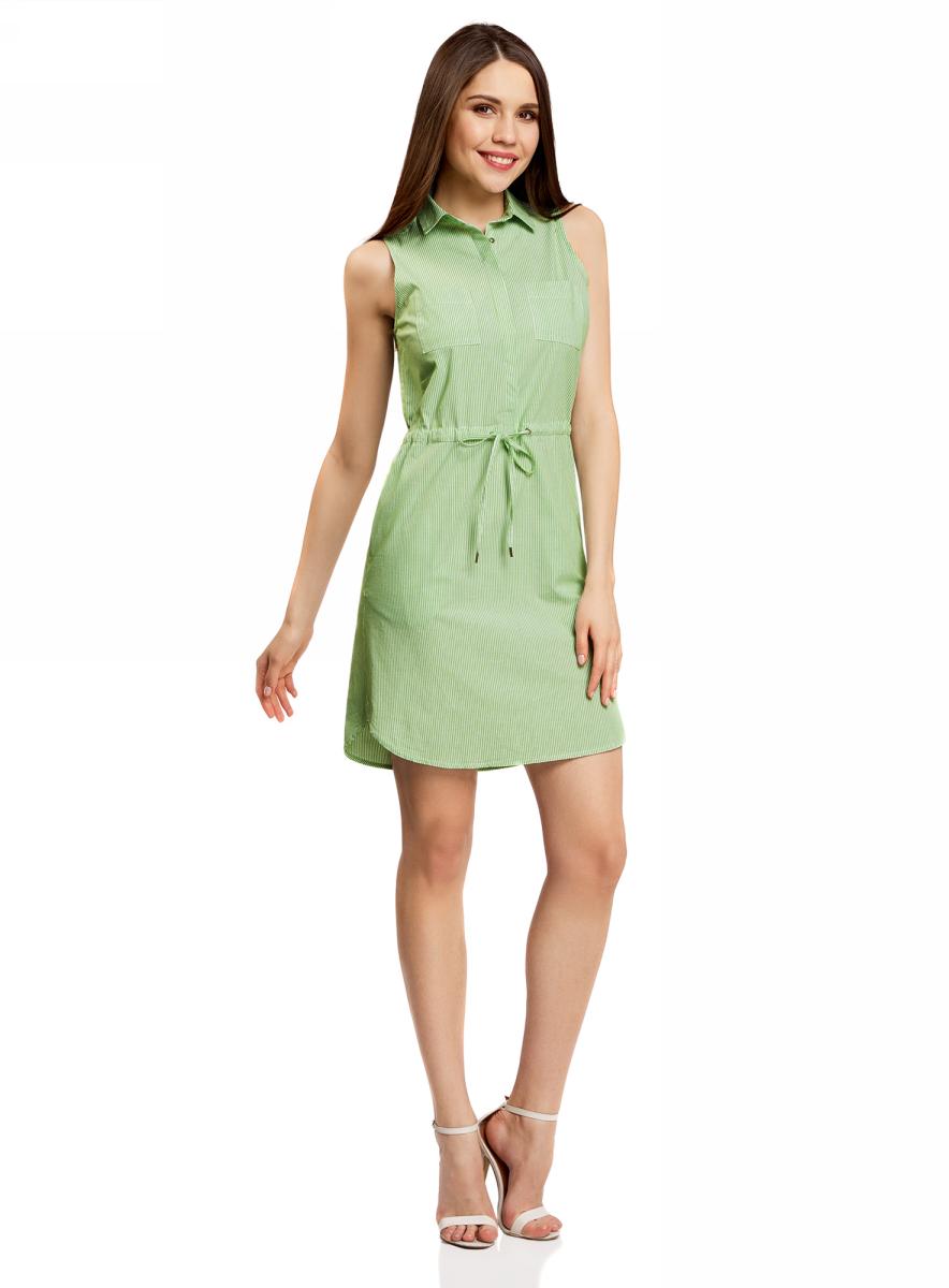 Платье oodji Ultra, цвет: зеленый, белый, полоски. 11901147-1/46593/6A10S. Размер 38-170 (44-170)11901147-1/46593/6A10SСтильное легкое платье выполнено из хлопка с небольшим добавлением эластана. Модель с отложным воротником и без рукавов дополнено нагрудными кармашками. На талии платье имеет утягивающий шнурок.
