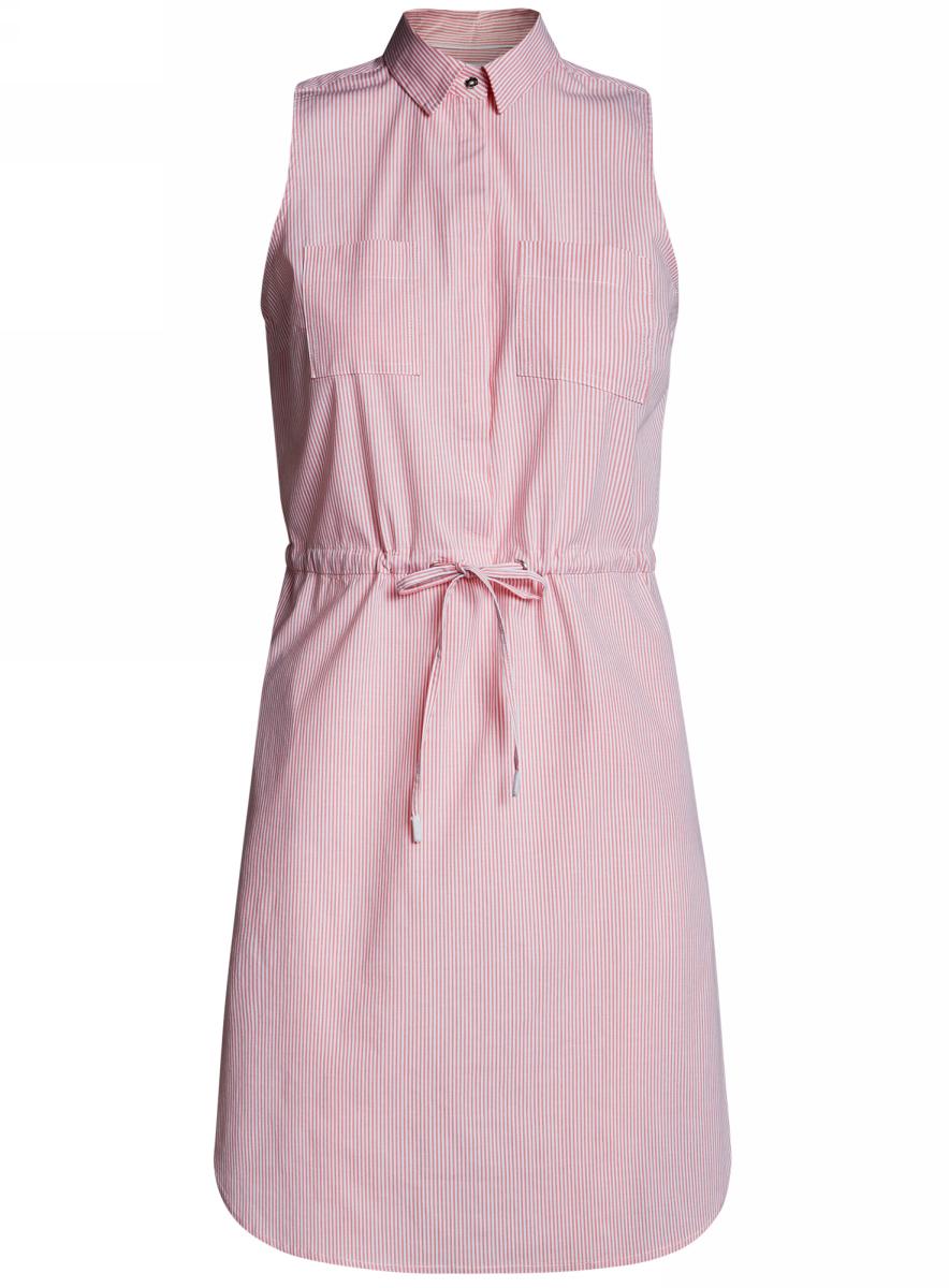 Платье oodji Ultra, цвет: коралловый, белый, полоски. 11901147-1/46593/4310S. Размер 42-170 (48-170)11901147-1/46593/4310SСтильное легкое платье выполнено из хлопка с небольшим добавлением эластана. Модель с отложным воротником и без рукавов дополнено нагрудными кармашками. На талии платье имеет утягивающий шнурок.