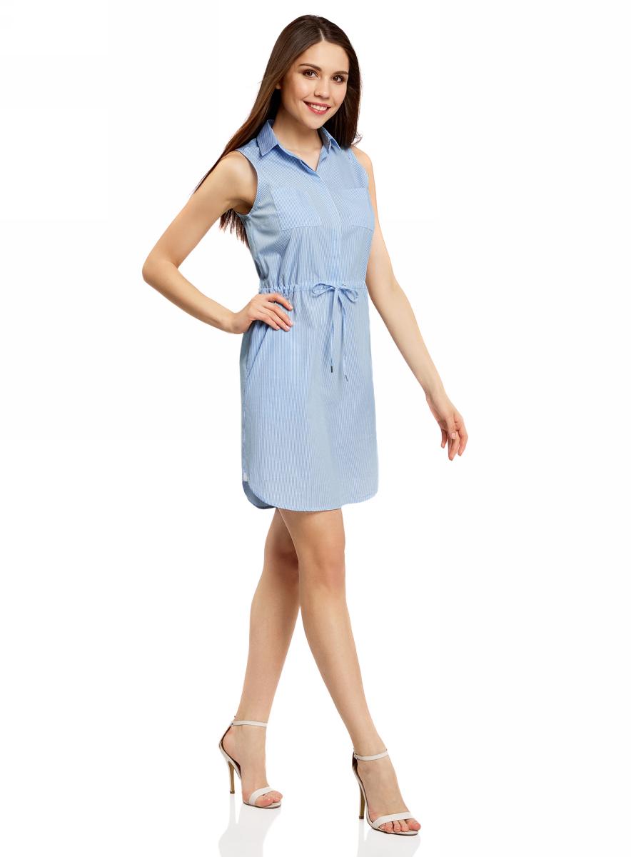 Платье oodji Ultra, цвет: голубой, белый, полоски. 11901147-1/46593/7010S. Размер 40-164 (46-164)11901147-1/46593/7010SСтильное легкое платье выполнено из хлопка с небольшим добавлением эластана. Модель с отложным воротником и без рукавов дополнено нагрудными кармашками. На талии платье имеет утягивающий шнурок.