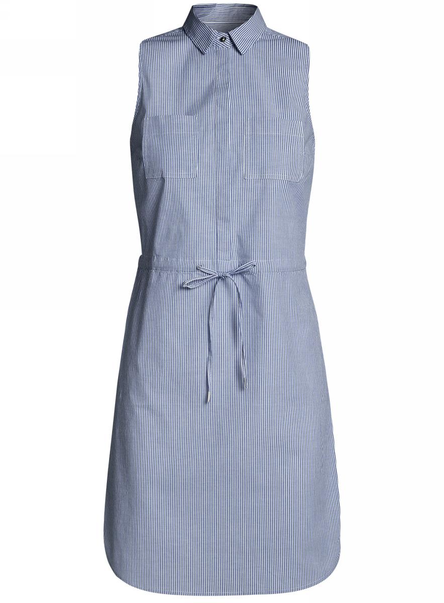 Платье oodji Ultra, цвет: синий, белый, полоски. 11901147-1/46593/7510S. Размер 34-170 (40-170)11901147-1/46593/7510SСтильное легкое платье выполнено из хлопка с небольшим добавлением эластана. Модель с отложным воротником и без рукавов дополнено нагрудными кармашками. На талии платье имеет утягивающий шнурок.
