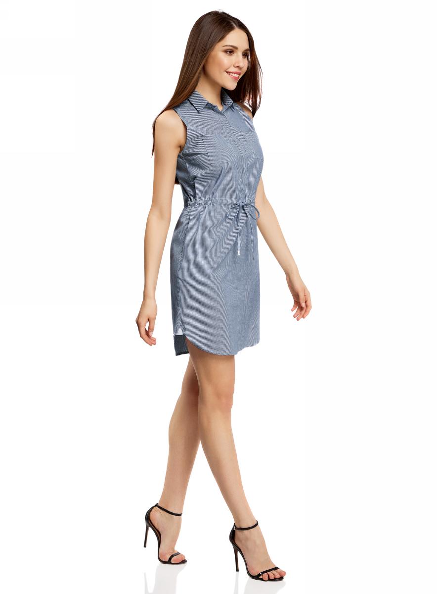 Платье oodji Ultra, цвет: темно-синий, белый, полоски. 11901147-1/46593/7910S. Размер 38-170 (44-170)11901147-1/46593/7910SСтильное легкое платье выполнено из хлопка с небольшим добавлением эластана. Модель с отложным воротником и без рукавов дополнено нагрудными кармашками. На талии платье имеет утягивающий шнурок.