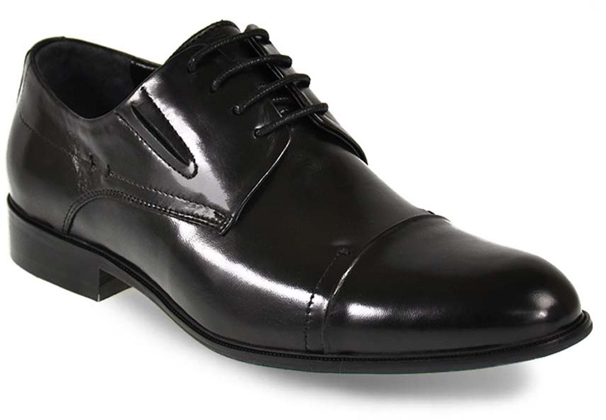 Туфли мужские Vera Victoria Vito, цвет: черный. 5-32-1-LUX. Размер 415-32-1-LUXЭлегантные мужские туфли от Vera Victoria Vito займут достойное место среди вашей коллекции обуви. Модель выполнена из натуральной высококачественной кожи. Шнуровка позволяет прочно зафиксировать модель на ноге. Резинки, расположенные на подъеме, обеспечивают оптимальную посадку модели на ноге. Стелька из натуральной кожи позволяет вашим ногам дышать. Каблук и подошва с рифлением обеспечивают отличное сцепление с поверхностью. Стильные туфли прекрасно дополнят ваш деловой образ.
