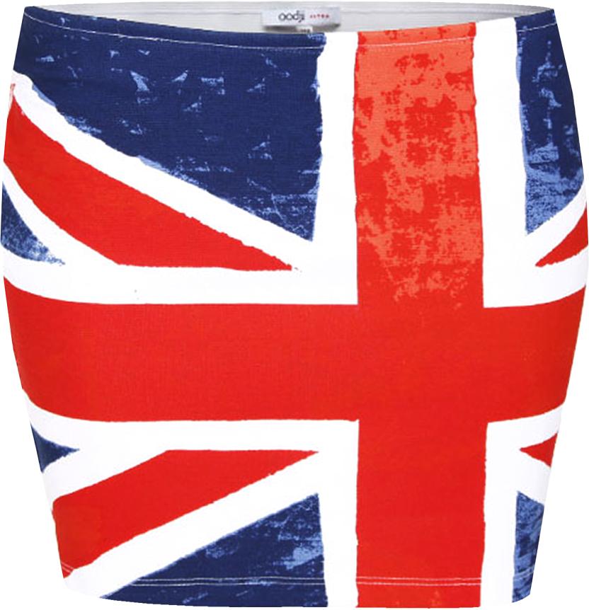 Юбка oodji Ultra, цвет: темно-синий, красный. 14101025-1/27108/7945O. Размер 38-164 (44-164)14101025-1/27108/7945OУльтрамодная мини-юбка выполнена из высококачественного материала. Модель оформлена принтом с изображением британского флага.