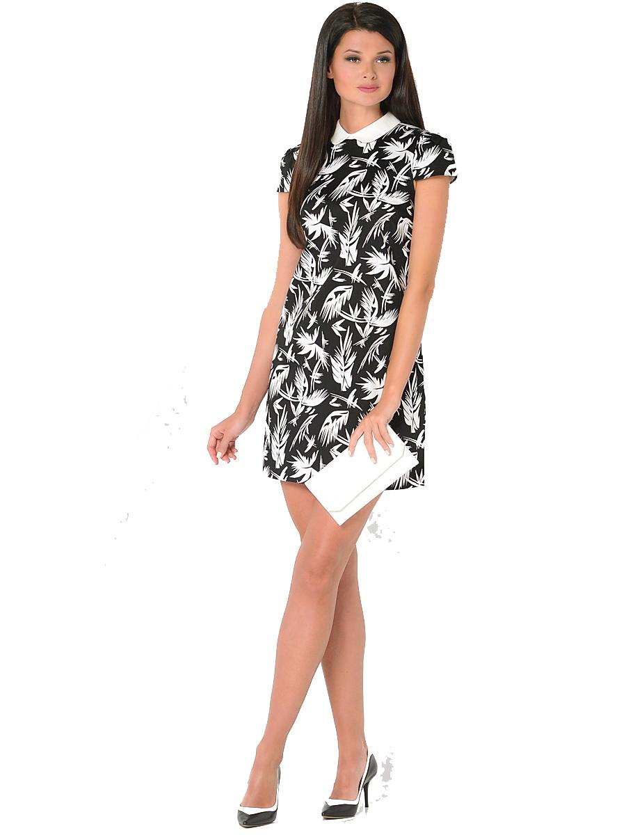 Платье Milton, цвет: черный. WD-2419V. Размер 42WD-2419VПлатье прямого силуэта с коротким втачным рукавом и отложным воротником выполнено из эластичного хлопка.