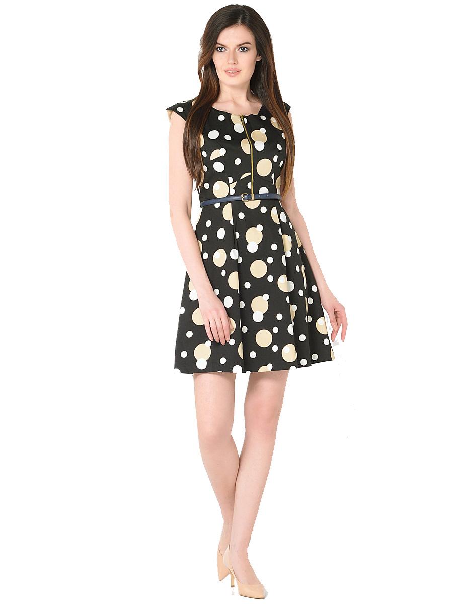 Платье Milton, цвет: черный, желтый. WD-2418V. Размер 44WD-2418VПлатье полуприлегающего силуэта, без рукавов, со спущенной линией плеча, отрезное по линии талии, со съемным ремешком. На юбке по линии талии заложены мягкие складки.